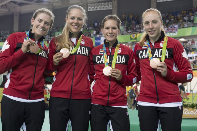 Les Canadiennes Allison Beveridge, Jasmin Glaesser, Kirsti Lay... (PHOTO Frank Gunn, PC)