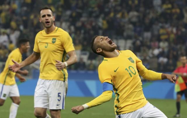 Neymar a inscrit son premier but dans le tournoi des JO-2016 et ainsi guidé le... (REUTERS)