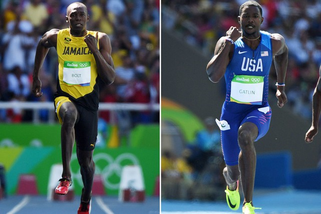 Usain Bolt et Justin Gatlin... (PHOTOS OLIVIER MORIN, AFP)