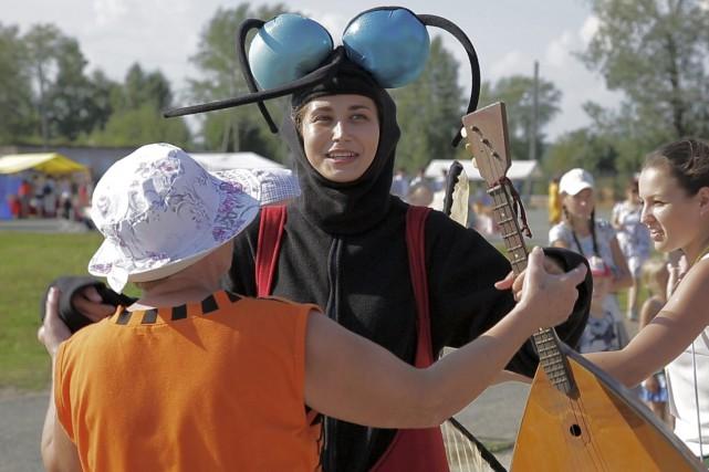 Une participante du festival.... (AP)