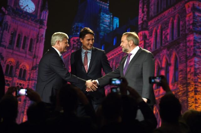 Les chefs des trois partis principaux, Stephen Harper... (La Presse Canadienne, Sean Kilpatrick)