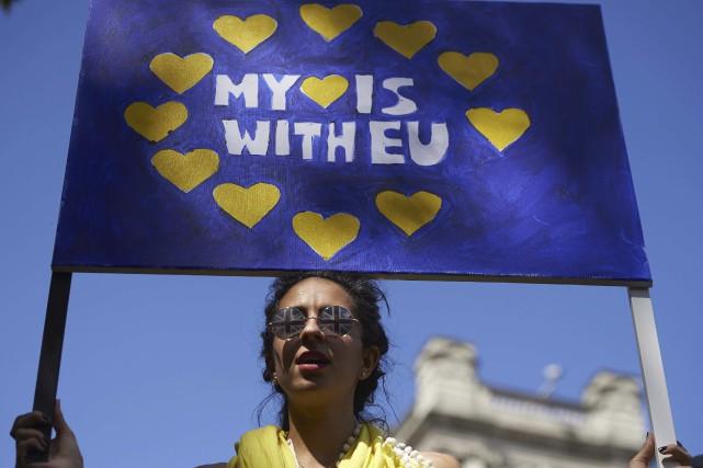 Des Britanniques refusant de quitter l'Union européenne cherchent... (AFP, Niklas Halle'n)