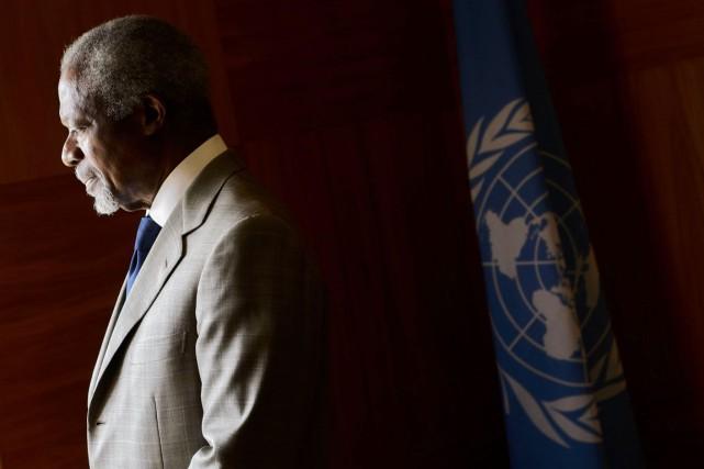 L'ex-secrétaire général de l'ONU, Kofi Annan... (Fabrice Coffrini, Archives AFP)