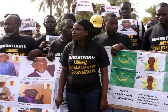 Des militants anti-esclavagiste manifestaient le 3 août dernierà... (Photo d'archives AFP)