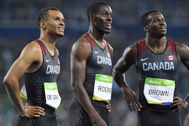 Andre De Grasse, Brendon Rodney et Aaron Brown... (La Presse canadienne, Frank Gunn)