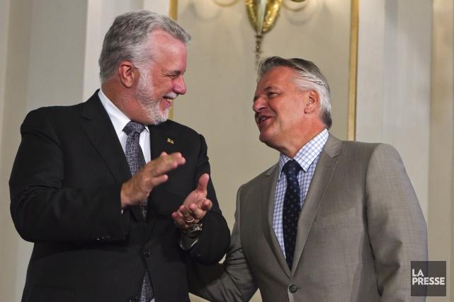 Philippe Couillard et Laurent Lessard... (Photothèque Le Soleil)