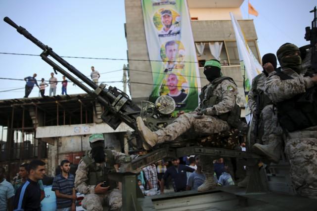 Une parade desBrigades Izz al-Din al-Qassam,la branche armée... (AP)