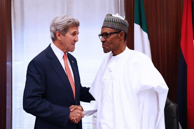 John Kerry a rencontréle président duNigeriaMuhammadu Buhari, mardi... (PHOTO AFP)