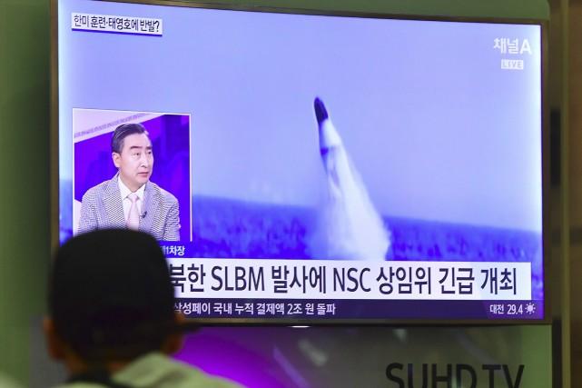 Le missile a été lancé depuis un sous-marin... (AFP, Jung Yeon-Je)