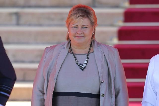 La première ministre de la Norvège, Erna Solberg.... (Photo Eranga Jayawardena, AP)