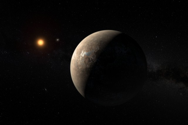 L'exoplanète Proxima B, représentée ici par un artiste,... (illustration AFP)