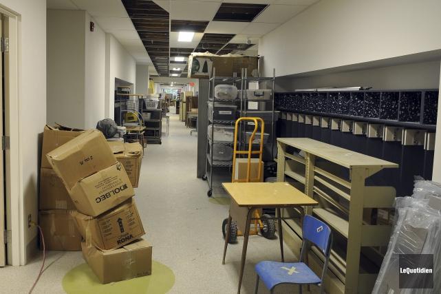 Les travaux sont loin d'être finalisés à l'intérieur... (Photo Le Quotidien, Rocket Lavoie)