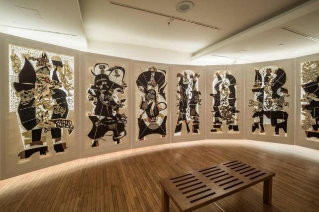 Détail du «vitrail de papier» de René Derouin... (PHOTO FRANÇOIS LAFRANCE, FOURNIE PAR L'ARTISTE)