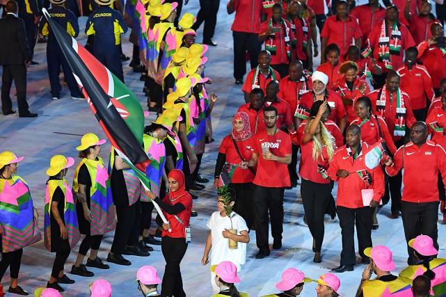 La délégation du Kenya lors de la cérémonie... (PHOTO FRANCK FIFE, ARCHIVES AFP)