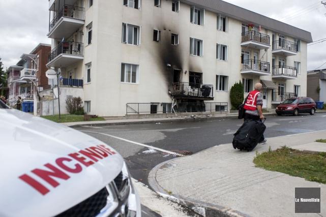 L'incendie est survenu dans un logement de la... (Stéphane Lessard, Le Nouvelliste)