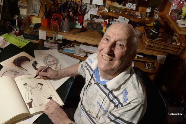 Le caricaturiste Anthony Delatri travaille encore dans le... (Sylvain Mayer, Le Nouvelliste)