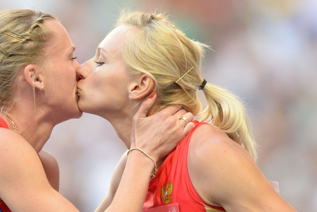 La coureuse de 400 m Tatyana Firova (à... (Photo Yuri Kadobnov, archives AFP)