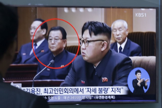 Kim Yong-Jin (encerclé en rouge), un vice-premier ministre... (AP, Ahn Young-Joon)
