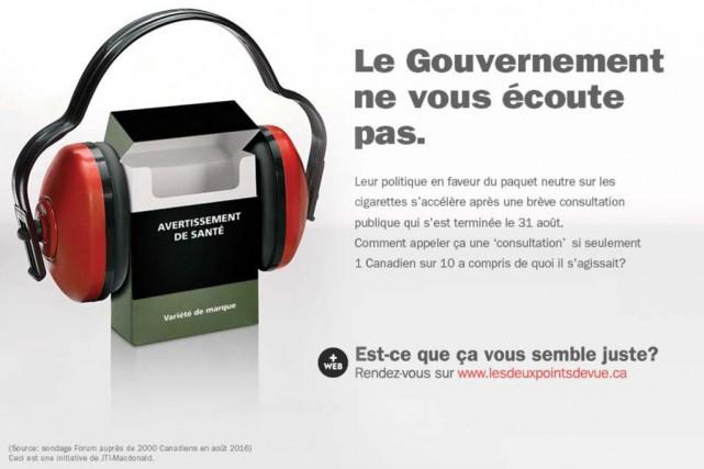 La publicité del'entreprise JTI-Macdonaldinvite les Canadiens à consulter... (Image tirée d'une capture d'écran)