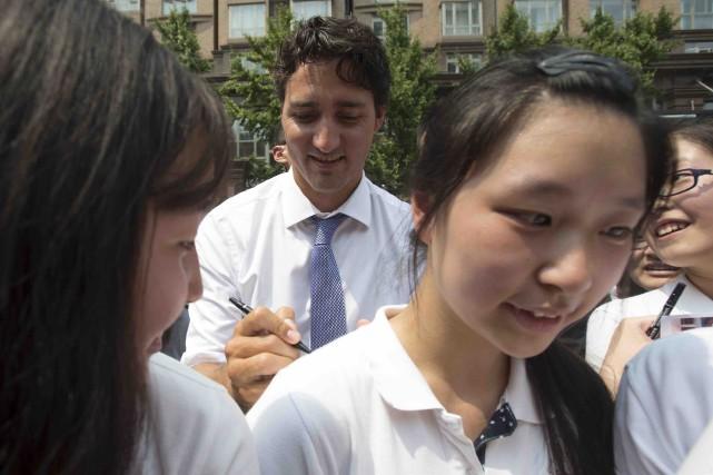 Le premier ministre Justin Trudeau a profité de... (La Presse canadienne, Adrian Wyld)