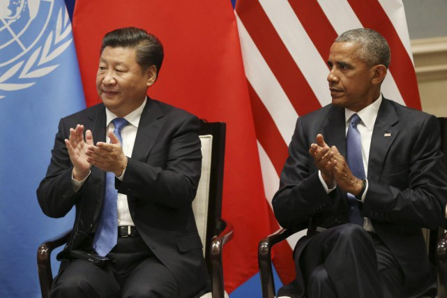 Le président Barack Obama et son homologue chinois... (PHOTO HOW HWEE YOUNG, AFP)