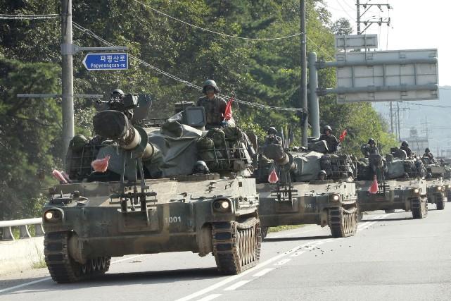 L'armée sud-coréenne a commencé des exercices à Paju,... (AP, Anh Young-joon)