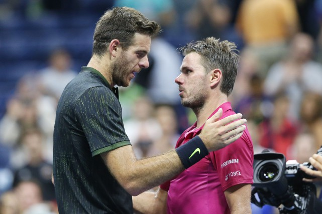 Juan Martin Del Potro et Stanislas Wawrinka se... (Photo Jerry Lai, USA Today Sports)
