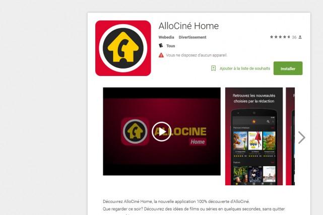 Le site Allociné (groupe Webedia) lance jeudi une application permettant de... (CAPTURE D'ÉCRAN)