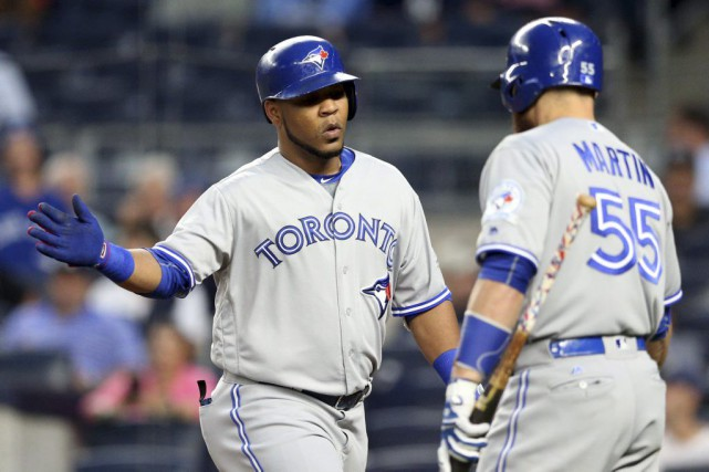 Edwin Encarnacion et Russell Martin... (Photo Brad Penner, archives USA Today SPORTS)