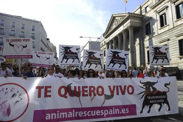 Des manifestants brandissaient une banderole où l'on peut... (photo CURTO DE LA TORRE, afp)