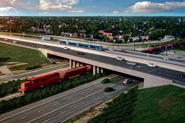 Selon le tracé du REM projeté, la station... (PHOTO FOURNIE PAR LA CAISSE DE DÉPÔT ET PLACEMENT DU QUÉBEC)