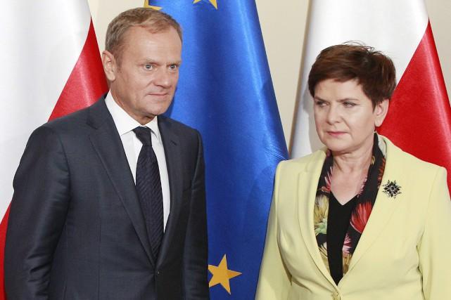 Le président du Conseil européen Donald Tusk et... (AP)