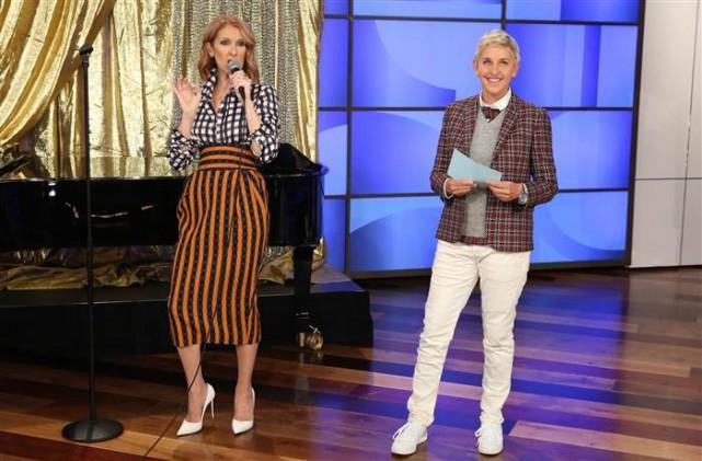 Célien Dion était l'invitée de l'animatriceEllen DeGeneres.... (photo tirée d'une vidéo)