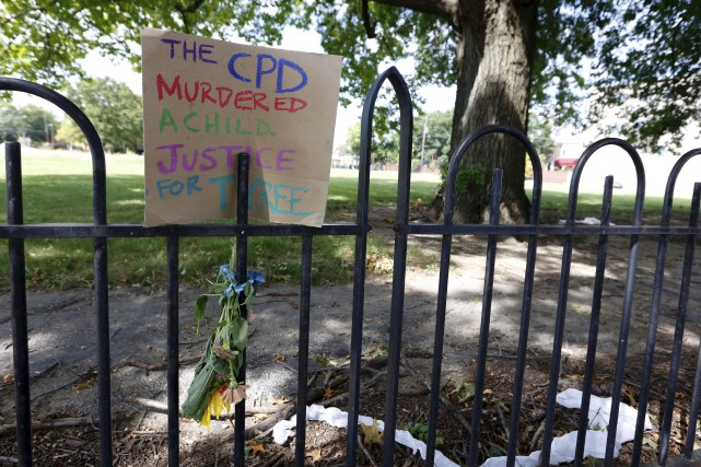 Une pancarte protestant contre la violence policière a... (AFP, Paul Vernon)