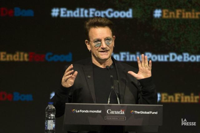 Bono à laconférence du Fonds mondial de lutte... (ROBERT SKINNER, LA PRESSE)