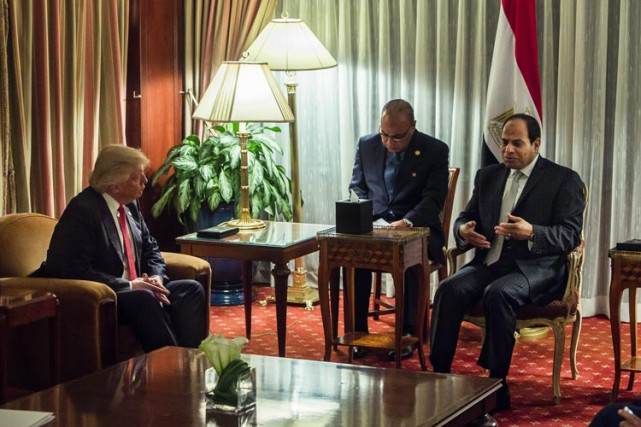 Abdel Fattah al-Sissia reçu dans son hôtelDonald Trump,... (PHOTO AP)