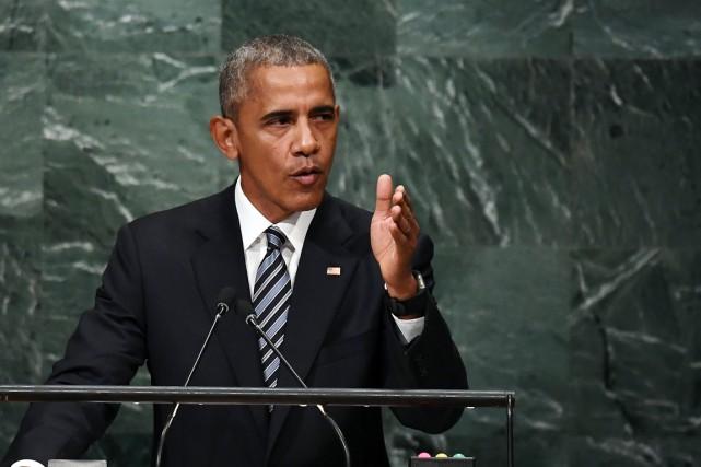Le président américain prend la parole devant la... (photo  Jewel SAMAD, AFP)