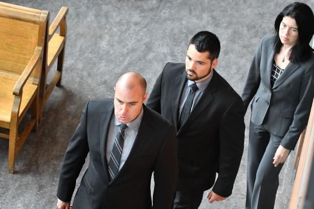 Trois des quatre accusés dans l'affaire Vadeboncoeur.... (Stéphane Lessard, Le Nouvelliste)