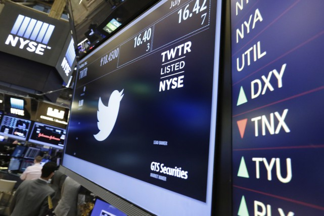À la bourse de New York, l'action Twitter... (AP, Richard Drew)