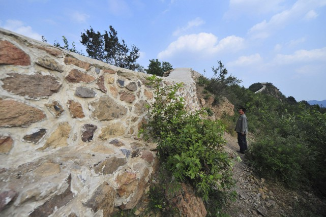 Le chantier sur la Grande muraille de Chine... (AFP)