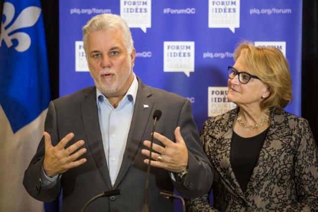 C'est lors d'une conférence de presseen marge du... (Photo Olivier PontBriand, La Presse)