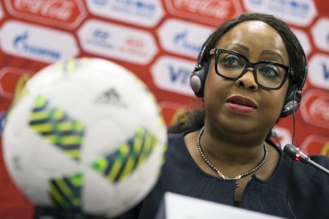 La secrétaire générale de la FIFA, Fatma Samoura.... (Photo Pavel Golovkin, AP)