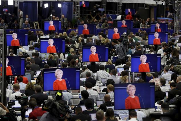 L'image de la candidate démocrate à la présidence... (AP, John Locher)