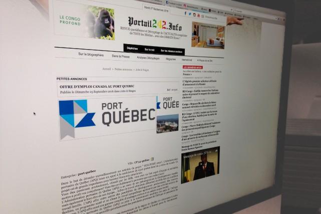 L'annonce est parue sur le site congolais www.portail242.info...