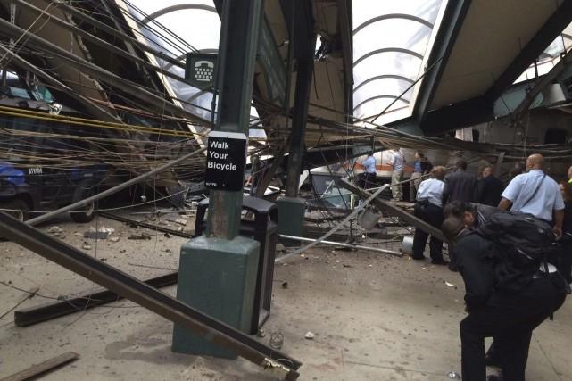 La gare de Hoboken, où s'effectuent 15000 embarquements... (AP)