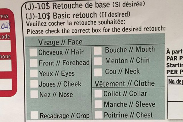 Sur le formulaire de commande de photos scolaires... (PHOTO TIRÉE DU COMPTE FACEBOOK DE KARINE RICHARD)
