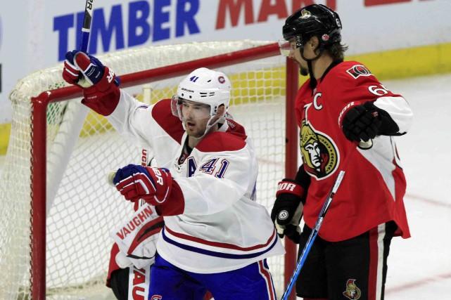 Paul Byron a participé à tous les buts... (La Presse canadienne, Fred Chartrand)