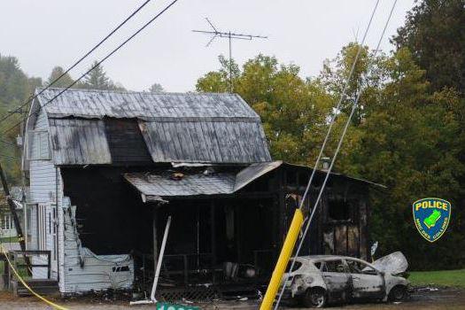 Un incendie s'est déclaré sur une propriété de... (Photo courtoisie)