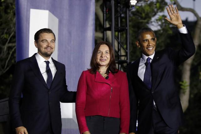 Barack Obama et Leonardo DiCaprio étaient accompagnés sur... (AP)
