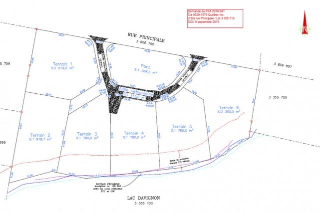 Les propriétaires du terrain où s'érigeait naguère la... (plan fourni par la Ville de Cowansville)